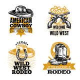 Cowboy Retro Emblems Stock Photos