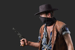 Cowboy with revolve royalty free stock photo