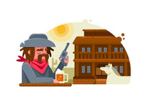 Cowboy with revolver drinks beer in pub Royalty Free Stock Images