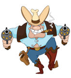 Cowboy with revolvers. Illustration of a texas cowboy with revolvers Royalty Free Stock Images
