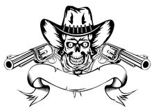Cowboy with revolvers. Vector  illustration human skull in cowboy's hat and two revolvers Royalty Free Stock Image