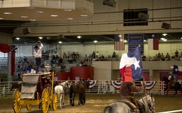 Cowboy ride horse  with flag at Lone star stampede show Stock Photo