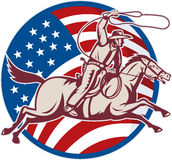 Cowboy ride horse lasso american flag. Illustration of a cowboy riding horse with lasso and american flag Stock Photo