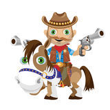 Cowboy rider with guns on a horse Stock Images