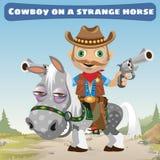 Cowboy rider on a strange horse Stock Photos