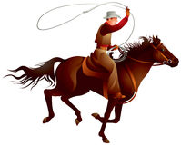 Cowboy rider throwing lasso. Cowboy rider on the horse throwing lasso vector illustration from Wild West series Royalty Free Stock Photography