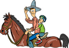 Cowboy Rides. Cowboy and Horse Rides for Kids royalty free illustration