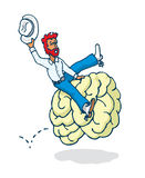 Cowboy riding a brain in mind rodeo Royalty Free Stock Photography