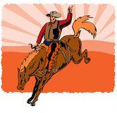 Cowboy riding a bucking bronco. Retro style vector art of a cowboy riding a bronco stock illustration