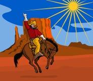 Cowboy riding a bucking bronco stock illustration