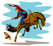 Cowboy riding a bucking bronco Stock Images