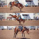 Cowboy Riding Bucking Bronco Collage. Collage of a cowboy riding a bucking horse in the saddle bronc event at a country rodeo stock image