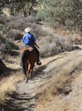 Cowboy riding his horse. A cowboy is riding his horse down a trail in a dry summer landscape stock photo