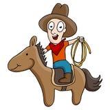 Cowboy Riding Horse Arkivbilder