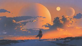 Cowboy riding a horse against sunset sky. With planets background, digital art style, illustration painting royalty free illustration