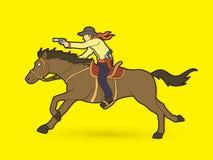 Cowboy riding horse,aiming gun graphic vector. Cowboy riding horse,aiming gun illustration graphic vector Stock Photos