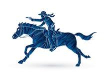 Cowboy riding horse,aiming gun graphic vector. Cowboy riding horse,aiming gun illustration graphic vector Stock Photo
