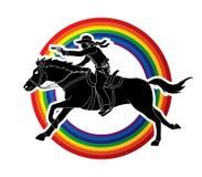 Cowboy riding horse,aiming gun graphic vector. Cowboy riding horse,aiming gun illustration graphic vector Royalty Free Stock Image