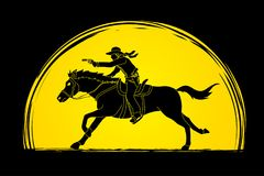 Cowboy riding horse,aiming gun graphic vector. Cowboy riding horse,aiming gun   illustration graphic vector Stock Images