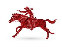 Cowboy riding horse,aiming a gun graphic vector. Cowboy riding horse,aiming a gun illustration graphic vector Royalty Free Stock Image