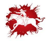 Cowboy riding horse,aiming a gun graphic vector. Cowboy riding horse,aiming a gun illustration graphic vector Stock Images
