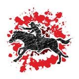 Cowboy riding horse,aiming a gun graphic vector. Cowboy riding horse,aiming a gun illustration graphic vector Royalty Free Stock Photography