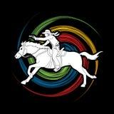 Cowboy riding horse,aiming a gun graphic vector. Cowboy riding horse,aiming a gun illustration graphic vector Stock Image
