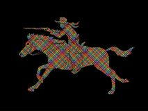 Cowboy riding horse,aiming rifle action graphic vector. Cowboy riding horse,aiming rifle illustration graphic vector Royalty Free Stock Photography