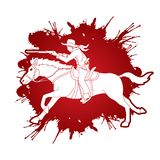 Cowboy riding horse,aiming rifle action graphic vector. Cowboy riding horse,aiming rifle illustration graphic vector Stock Photo
