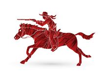 Cowboy riding horse, aiming rifle graphic vector. Cowboy riding horse, aiming rifle illustration graphic vector Stock Photography
