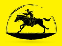 Cowboy riding horse,aiming a rifle gun graphic vector. Cowboy riding horse,aiming a rifle gun illustration graphic vector Stock Photography