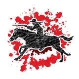Cowboy riding horse, aiming rifle graphic vector. Cowboy riding horse, aiming rifle illustration graphic vector Royalty Free Stock Photos