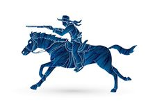 Cowboy riding horse,aiming rifle action graphic vector Stock Photos