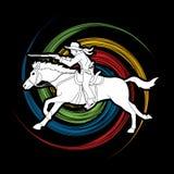 Cowboy riding horse,aiming rifle action graphic vector. Cowboy riding horse,aiming rifle illustration graphic vector Stock Photography