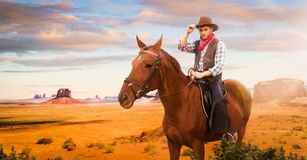 Cowboy riding a horse in desert valley, western. Vintage male person on horseback, wild west adventure stock image
