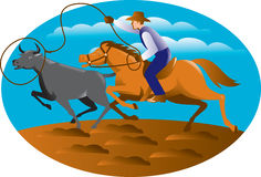 Cowboy Riding Horse Lasso Bull Cow. Illustration of a cowboy riding horse with lasso roping a bull cow set inside oval with blue sky and clouds in the background Royalty Free Stock Photos