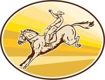 Cowboy Riding Horse Oval de rodéo rétro Images libres de droits