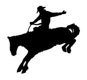 Cowboy riding horse at rodeo. Vector silhouette of cowboy riding horse at rodeo Royalty Free Stock Images