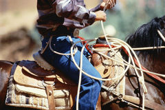 Cowboy riding horse with rope, Gallup, New Mexico Stock Photos