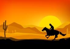 Cowboy riding a horse. Cowboy riding a horse, silhouette background of sunset, illustration with  design Royalty Free Stock Image