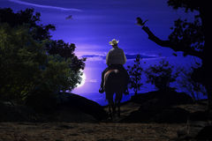 Cowboy riding on a horse VI. A cowboy riding a horse on a mountain trail into the night stock image