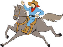Cowboy Riding Horse Waving Cartoon Stock Photography