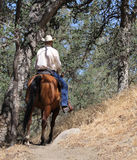 A cowboy riding in a mountain trail with oak trees. A cowboy riding his horse in the mountains with a beautiful scenic blue sky with boulders and oak trees Royalty Free Stock Images