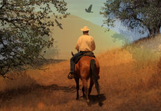 A cowboy riding his horse on a mountain trail with oak trees. A cowboy riding his horse in the mountains with a beautiful scenic blue sky with boulders and oak Royalty Free Stock Photography