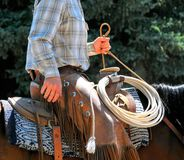 Cowboy riding outdoors. Stock Images