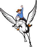 Cowboy Riding Pegasus Flying Horse Cartoon Royalty Free Stock Image