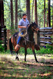 Cowboy Riding a Saddle Horse Stock Image