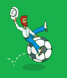 Cowboy riding a soccer ball or football rodeo Stock Photos