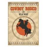 Cowboy riding wild horse .Western vintage rodeo poster with text Royalty Free Stock Photo