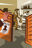 Cowboy Robber Stealing Saloon Poster. Poster illustration of an outlaw cowboy robber holding bag of money stealing from saloon with hand of sheriff at door and Stock Photos